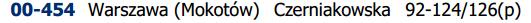 Czerniakowska 100 kod pocztowy